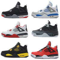 Wholesale Retro 4s - High Quality air retro 4 Basketball Shoes men 4s Pure Money Royalty White Cement Bred Military Blue Fire Red Premium Black Sports Sneakers