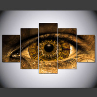 ingrosso arte steampunk-New Modern Steampunk Art Abstract Eye Painting For Living room 5 Panel no frame Canvas art Stampa Dipinti Regalo personalizzato