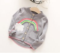 Wholesale Rainbow Girl Tops - Cute Girls Rainbow Cardigans Sweater 2017 Fall Winter Kids Boutique Clothing 2-7Y Little Girls Button Long Sleeves Knitting Tops Outerwear