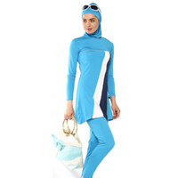 Wholesale Muslim Swimming - Burkini S-4XL Muslim Swimwear Conservative Women Beachwear Ladies Modest Islamic Bikini Bathing Swimming Suit