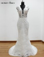 Wholesale Dresses Real Photoes - Real Photoes Hot Wedding Dresses 2017 V neck Cap Sleeves Bridal Dresses Lace Applique Sheer Back Sweep Train Bridal Gowns
