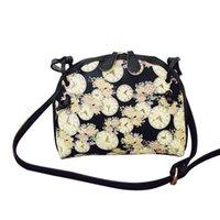 Wholesale Wholesale Clock Purse - Wholesale-Women Handbags Floral Clock Printed Shoulder Bag Leather Purse Satchel Messenger Bag #2415