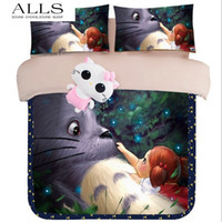 Wholesale Duvet Covers For Kids - Wholesale-3D oil painting My Neighbor Totoro Bedding Sets 3Pcs bed linen for Kids,Gray Bedding Sets duvet cover set