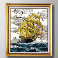 Wholesale sea print fabric for sale - Group buy Plain sailing sea ship Europe style handmade Cross Stitch Needlework kits Embroidery Sets Counted printed on fabric DMC CT CT DMS