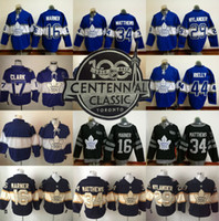Wholesale Toronto Maple Leaf Jerseys - 2017 Centennial Classic 100th Anniversary ice hockey blue black Toronto Maple Leafs jerseys 34 Auston Matthews 16 Mitchell Marner 44 Rielly