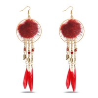 Wholesale Feather Earrings Gold Charms - 2017 National Wind Stud Earrings Circle Feather Leaves Bohemian Tassels High Grade Earrings Dainty Solid Color Jewelry For Girls women