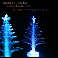 Wholesale Led Artificial Tree Wholesale - Wholesale- 1pcs Luxury Artificial Flashing Changing Color LED Crystal Christmas Tree Ornament Light Lamp Xmas Party Gift