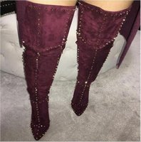 Wholesale Sexy Blue Suede Shoes - Luxury Designer Sexy High Heels Winter Shoes Black Burgundy Pointed Toe Stiletto Over The Knee Boot Metallic Rivets Studded Thigh High Boots