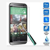 m7 bir film toptan satış-HTC için 0.26mm 9 H 2.5D Sertlik Temperli Cam Ekran Koruyucu Film Kapak Guard htc one m7 m8 m9 m9 Artı E8 E9 E9 Artı ücretsiz kargo