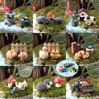 ingrosso dollhouse di funghi-30 pz / 10 set animali miniature figurine anatra funghi cani maiale mestiere della resina casa delle bambole bonsai decor terrarium decoracion jardin