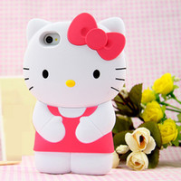 Wholesale Note Hello Case - 3D Cartoon Hello Kitty Bowknot Silicone Mobile Phone Case For iPhone 6 6plus 6S 6Splus 7 7plus Samsung S5 i9600 S6 G9200 Note 3 4 Touch 4 5