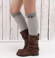 Wholesale Ripple Knitting - Wholesale- Fashion Winter Vintage Buttons Waves Ripples Knitting Striped Women Crochet Boot Cuffs Lace Trim Leg Warmer Boot Socks JT020