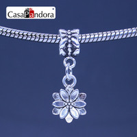 CasaPandora Silver-color Lotus Flower Shape Pendant Fit Bracelet Charm DIY Bead Jewelry Making Pingente Berloque Бесплатная доставка по всему миру