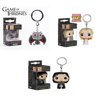 Wholesale Dragon Boys Rings - Game of Thrones keychain bag pendant cartoon Characters key Rings Jon Snow Dragon A song of ice and fire pocket POP key chain