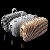 ingrosso borse da sposa strass-I sacchetti di frizione delle donne del Rhinestones delle nuove di qualità superiore dei diamanti hanno barrato i sacchetti di sera delle borse della borsa delle borse nuziali di cristallo delle borse di cerimonia nuziale