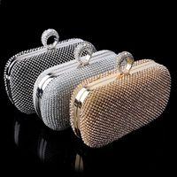 Wholesale Clutch Bag Finger Rings - Top quality NEW Rhinestones women clutch bags diamonds finger ring evening bags crystal wedding bridal handbags purse bags holder