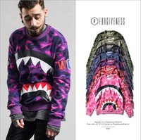 Wholesale Cotton Mouth Head - New Europe tide brand men mouth shark camouflage sleeve India set head men's sweater lovers