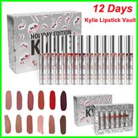 Wholesale Gifts Holidays - New Kylie Jenner lip gloss Holiday Christmas Edition Lipstick Vault 12 Matte Lipsticks new year gift fashion item 12 Days lipgloss kit