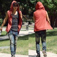 Wholesale tracksuits hoodies sweatshirt moleton suit online – oversize Autumn Hoodies Gray Cotton Tracksuit Mens Sport Suit Gym Hoodies And Sweatshirts Sleeveless Hoodie Assassins Creed Moleton