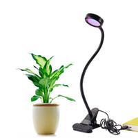 yetiştirilen ışıklar toptan satış-LED Büyümek Işık 8 W Ayarlanabilir 2 Seviye Dim Klip Masa Işıklar Büyümek Lamba Ampul Kelepçe Esnek Gooseneck Kapalı Bitkiler için 360 Derece Hidropon