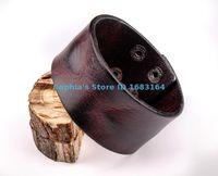 """Wholesale Wide Gold Plated Mens Bracelet - Wholesale-HD01 Black Brown Cool Vintage Retro Mens Surfer Plain 3.8 cm Wide Biker Punk Leather Bracelet Wristband Wide Cuff 7.5~8.25"""""""