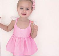 Wholesale Girl Stripe Braces Skirt - 2017 Summer New Baby Girl Sets Stripe braces skirt+Shorts Fashion Outfit Children Clothing 1-4T D010