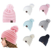 Wholesale Wholesale Basketball Candy - Lovely CC Winter Warm Beanie 6 Candy Colors Knitted Chunky Skull Caps Slouchy Crochet Hats for Children