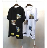Wholesale Sea Wave - 2017 ss off white Europe version city sea cap wave short sleeve T-shirt men and women summer s s tee