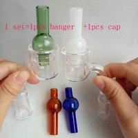 Wholesale Nail Cap Tips - Set XXL Quartz Thermal Banger With colorful Bubble carb cap 10 14 18mm Double Tube Quartz Nails Tips PukinBeagle thermal P Banger glass bong