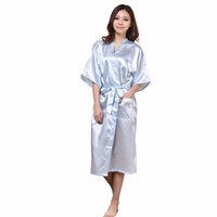 Wholesale White Wedding Night Lingerie - Wholesale- Plus Size Blue Long Bride Bridesmaids Robe Sexy Lingerie Women's Wedding Party Kimono Robes Night Dress Woman Sleepwear Pajamas