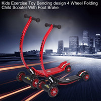 Wholesale Feet Wheels Scooter - Wholesale- Kids Exercise Toys Bending Design 4 Wheel Folding Scooter City Roller Skateboard Child Scooter Foldable With Rear Foot Brake New