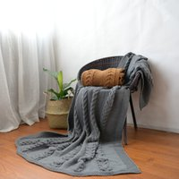 Wholesale Cable Throw - 130*180CM Thickened Acrylic Blanket Cable Knitted Throw Blanket Super Soft Warm Blanket Two Colors High Quality Drop Shipping