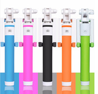 Wired Stainless Steel  Cable Take a Pole Wired Monopod Selfie Stick for Iphone Samsung Mobile Phones