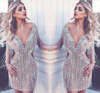 nuevos vestidos cortos de fiesta al por mayor-Nuevo lujo Arabia Saudita Vestidos de cóctel cortos Cristales Sexy Cuello en V profundo Sin espalda Ilusión Mangas largas Club Wear Vestidos de fiesta Vestido de fiesta