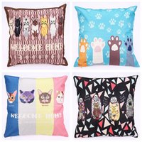 Wholesale spotted pillows for sale - Group buy Pillow Cover Hot Cushion Cover Manufacturers Spot European and American Style Cartoon Cat Pillow Case Sofa pillowcase