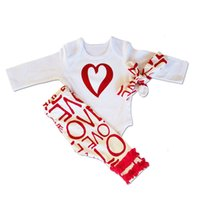 Wholesale Adorable Baby Clothes - Baby girls rompers outfit boys clothing romper pants headband 3 pieces set LOVE letter trousers heart onesies kid adorable wholesale clothes