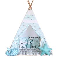 teatro tenda para crianças venda por atacado-Atacado-Free Love @ nuvem azul crianças brincam tenda indiano teepee crianças playhouse crianças brincar quarto teepee