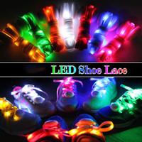 lacets de nylon menés achat en gros de-30 Pcs (15 paires) LED Lacets Lumineux Clignotant Lead Lacets Disco Party Casual Sneaker Light Up Étanche Glow Nylon Sangle Lampe Coloré