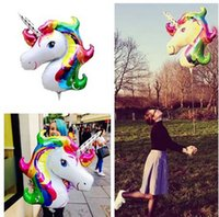 Wholesale Unicorn Balloon - Rainbow Unicorn Balloons Party Supplies Foil Balloons Kids Cartoon Animal Horse Party Wedding Christmas Decoration 88x108cm KKA2715