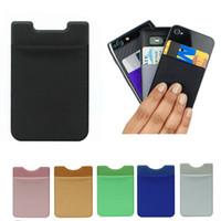 adesivos de volta para celulares venda por atacado-Soft Sock Carteira De Cartão De Crédito De Bolso De Dinheiro Etiqueta Adesiva Titular Organizador Bolsa De Dinheiro Telefone Móvel 3 M Gadget Para o iphone Samsung Voltar caso