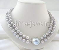 """Wholesale Pearl Blister - P4252 -2row 17-18"""" 10mm gray round freshwater pearl necklace -blister Mabe pearl"""