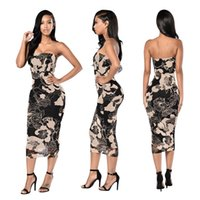 Wholesale Sexy Dress For Night Party - Club Slash Neck Party Dresses for Women Floral Knee Length Bodycon Sleeveless Sexy Dresses for Summer