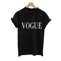 nuevas mujeres de la llegada camisetas al por mayor-Más el tamaño S-XXL Moda de Verano Camiseta de Las Mujeres VOGUE Impreso T-shirt Mujeres Tops Camiseta Femme New Arrivals Venta caliente Casual Sakura