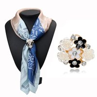 Wholesale Scarf Accessories Bronze - Wholesale- Newest Fashion Accessories Trendy Bronze Gold Plated Beauty Flower Brooch Scarf Clips Lapel Pins Scarf Buckle Jewelry 3743