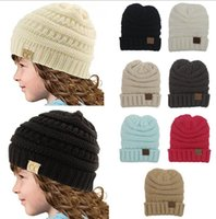 Wholesale Hand Knitted Crochet Baby Hats - Fashion Parent-Child Without CC log CC hats Baby Wool Beanie Winter Knitted Hats Warm Hedging Skull Caps Hand Crochet Caps Hats