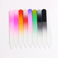 Wholesale Small Crystal Nail Art - 1Pc 9cm Small Size Durable Crystal Glass Nail Files Buffer Colorful Manicure Pedicure Art Decorations Tool Randomly Assorted Colors