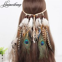 Wholesale Wholesale Gypsy Headbands - Hair Feathers Headband for Women Girl 2016 Fashion Boho Hair Accessories Indian Beads Gypsy Feather Knitted Belt Hair Band