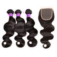 brezilya paketi kapanması 6a toptan satış-6A Perulu Hint Malezya Brezilyalı Saç Demetleri Işlenmemiş Insan Saçı Örgü Ve Kapatma Brezilyalı Vücut Dalga Saç Uzantıları Diva