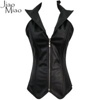 2a52c64889 Jiao Miao Sexy Women Zipper Black Leather Push Up Steel Bone Waist Trainer  Corsets Vest And Bustiers Tops Steampunk Clothing