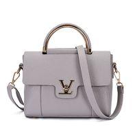 Wholesale Ladys Leather Shoulder Bag - 2017 Women V Letters Saffiano handbags Women Leather Commuter Office Ring tote bag Women's Pouch Bolsas Famous Ladys V Flap bag